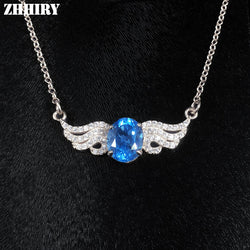 #JW-007-Natural Blue Topaz Necklace Genuine 925 Sterling Silver For Women