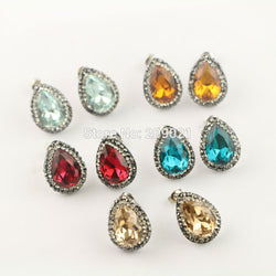 #JW-005-10Pair Mixed Color Pave Rhinestone Water Drop Shape Crystal Stud Earrings