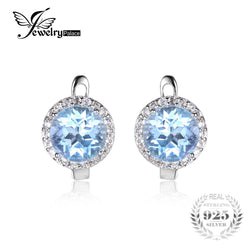 #JW-010-5.4ct Natural Sky Blue White Topaz Halo Clip Earrings Genuine 925 Sterling Silver