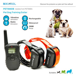 #PC-009-300M Remote Control Dog Electric Collar, Rechargeable and Waterproof LCD Anti-Bark Control for 2 dogs