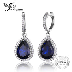 #JW-018-Luxury Pear Cut 12.4ct  Blue Created Sapphire Dangle Earrings Solid 925 Sterling Silver
