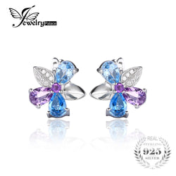 #JW-012-2.6ct Natural Sky Swiss Blue Topaz Amethyst Clip Earrings 925 Sterling Silver