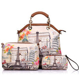 #W-001-3 pcs Printed Artificial Leather Women Handbag,Shoulder Bag & Purse