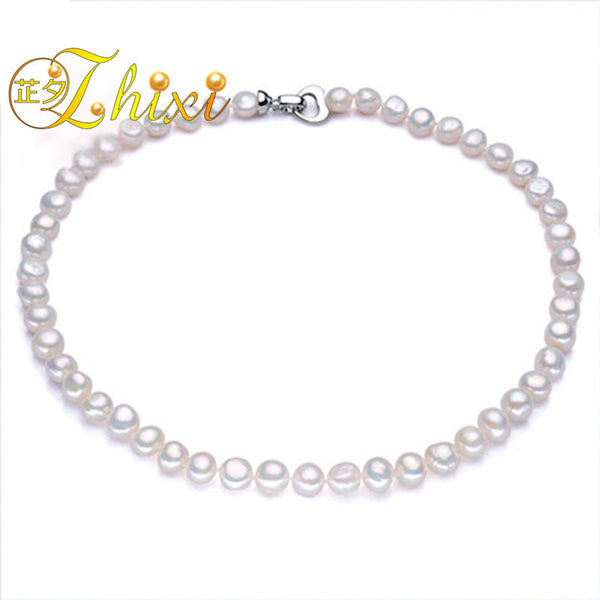 #JW-002-Fine Pearl Jewelry  Freshwater Pearl Necklace 9-10mm