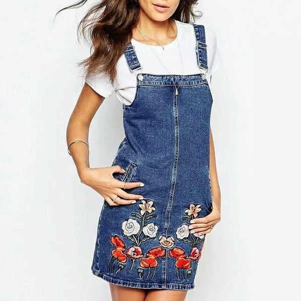 WB-006-Women Floral Embroidery Suspender Skirt Ladies Buttons Blue Jeans Skirts