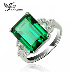 #JW-006-5.9ct Created Emerald Cocktail Ring 925 Sterling Silver Rings for Women