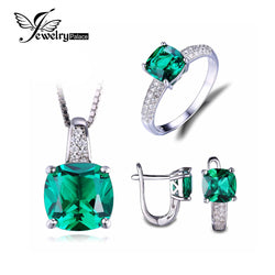 #JW-011-8.7ct Emerald Ring Pendant Clip Earrings Jewelry Set 925 Sterling Silver