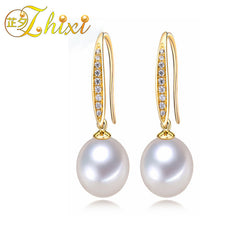 #JW-017-Pearl Earrings 8-9mm Natural Pearl Drop Earrings