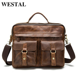#M-012-Genuine Leather Casual Men Handbags Tote Laptop Briefcases