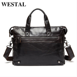 #M-014-Genuine Leather Business Laptop Tote Briefcase