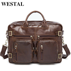 "#M-013-Genuine Leather Business Briefcase 14"" Laptop Bag"