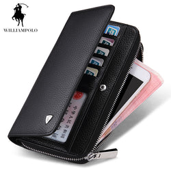 #M-007-Genuine Leather Business Style Zipper Designer Wallet