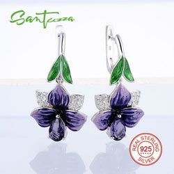 #JW-003-HANDMADE Purple Flower Enamel Earrings  Solid 925 Sterling Silver