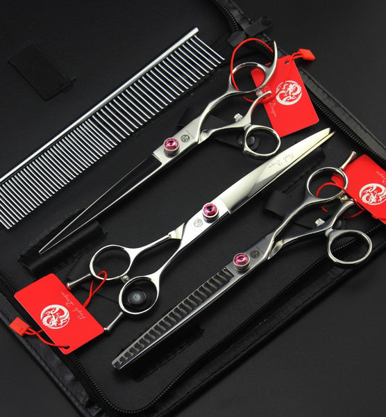 #PC-003-Pet Dog Grooming Scissors 7.5 inch Hair Cutting + Thinning +Curved  Shears