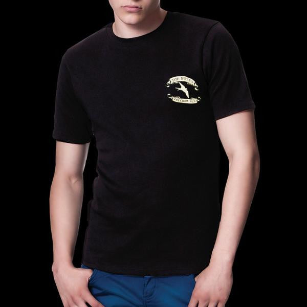 'Freedom Run' Black Mens T-Shirt