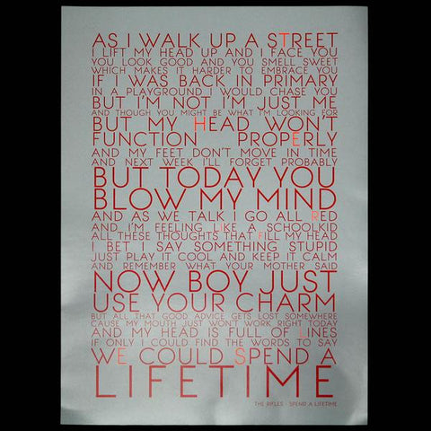 Spend a Lifetime Lyrics Screen Print