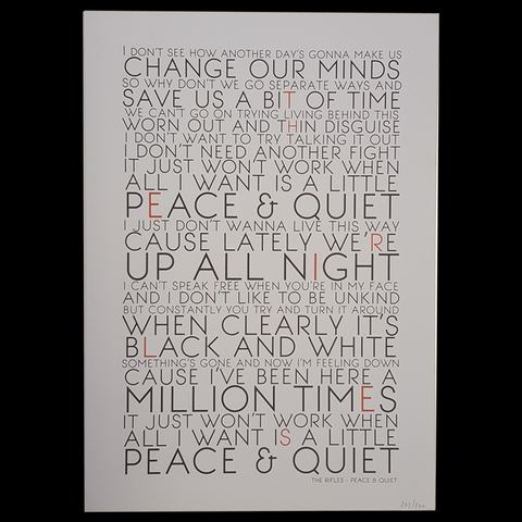 Peace And Quiet Lyrics Screen Print