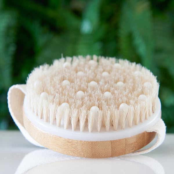 Dry / Wet Body Brush by C.S.M - Clear Dead Skin Cells While Reducing Cellulite & Toxins - Natural Bristles for Better Exfoliation