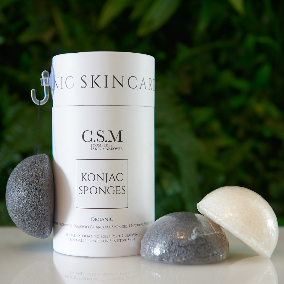 CSM Organic Konjac Sponges (3-Pack) for Gentle Exfoliating - Facial Sponges with Premium Activated Bamboo Charcoal to Cleanse Pores, Remove Impurities, Exfoliation (2 Black Charcoal, 1 White Natural)