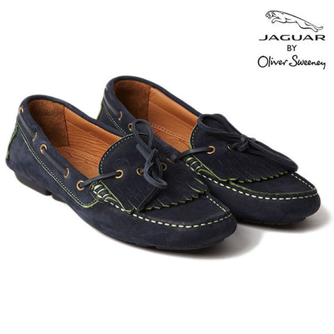 "Jaguar ""Rosa'' Navy Calf Suede Leather Ladies' Moccasin"