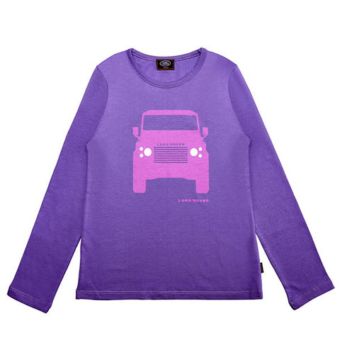 Land Rover Girl's Defender Print Long Sleeve T-Shirt - Purple