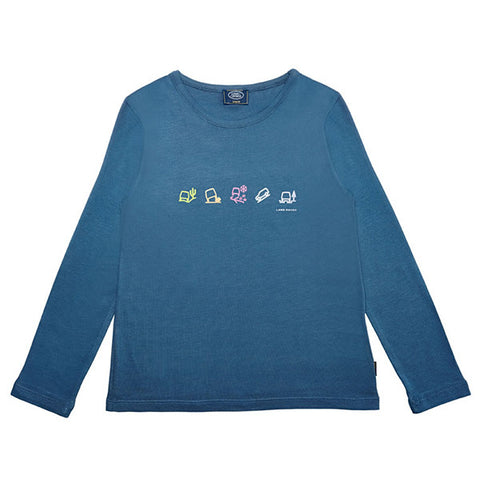 Land Rover Girls' Terrain Response Icons Long Sleeve T-Shirt – Teal