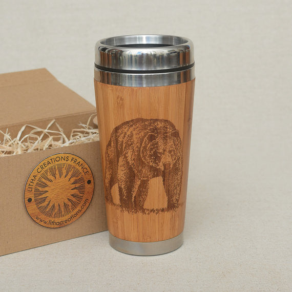Personalized Engraved Natural Bamboo Tumbler Travel Mug BEAR