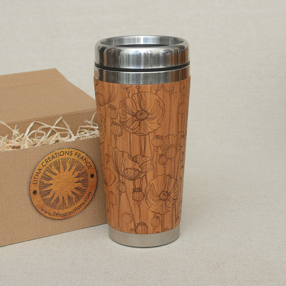 POPPY FIELD Engraved Wood Travel Mug Tumbler