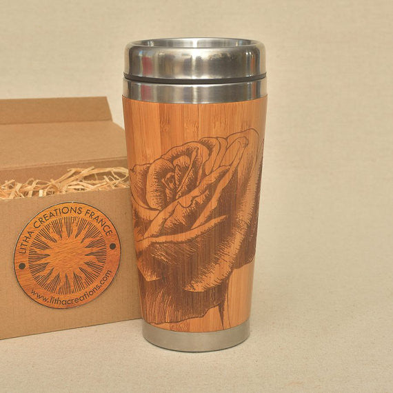 BELLE ROSE Engraved Wood Travel Mug Tumbler