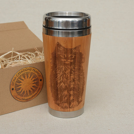 Personalized Engraved Natural Bamboo Tumbler Travel Mug ''CAT""