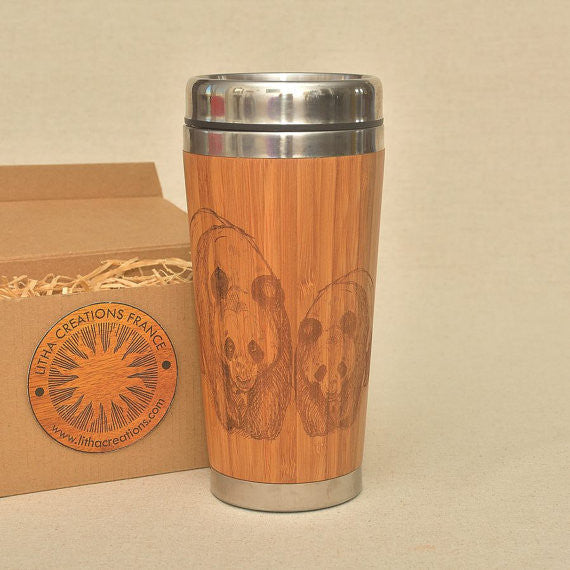 Personalized Engraved Natural Bamboo Tumbler Travel Mug ''PANDAS""