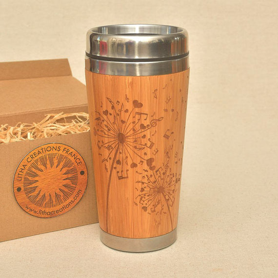 DANDELION NOTES  Engraved Wood Travel Mug Tumbler