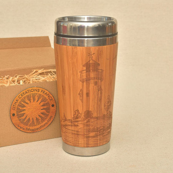 LIGHTHOUSE Engraved Wood Travel Mug Tumbler