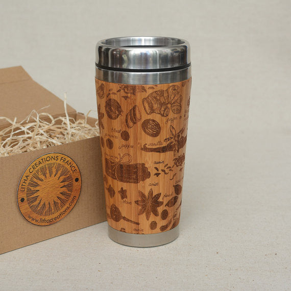 Personalized Engraved Natural Bamboo Tumbler Travel Mug ''Spices''
