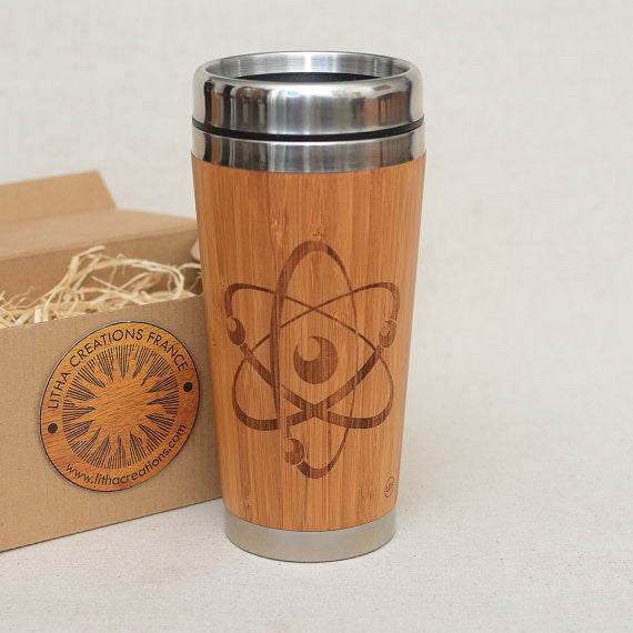Personalized Engraved Natural Bamboo Tumbler Travel Mug Science ATOM