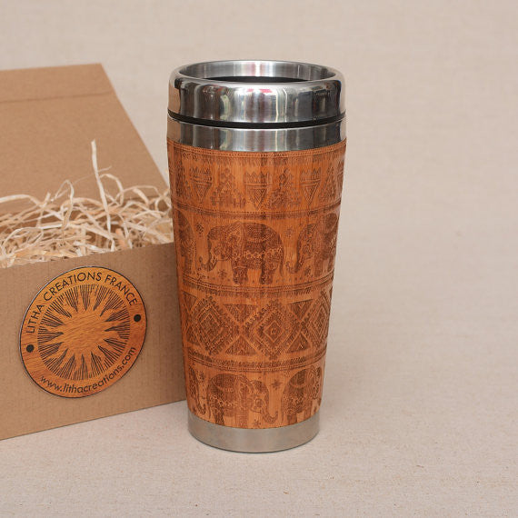 Personalized Engraved Natural Bamboo Tumbler Travel Mug ''Ethnic Elephant""