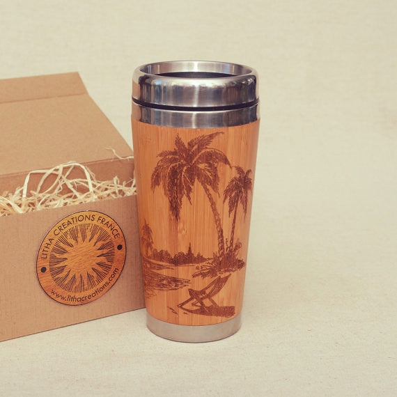 TROPICAL BEACH Engraved Wood Travel Mug Tumbler