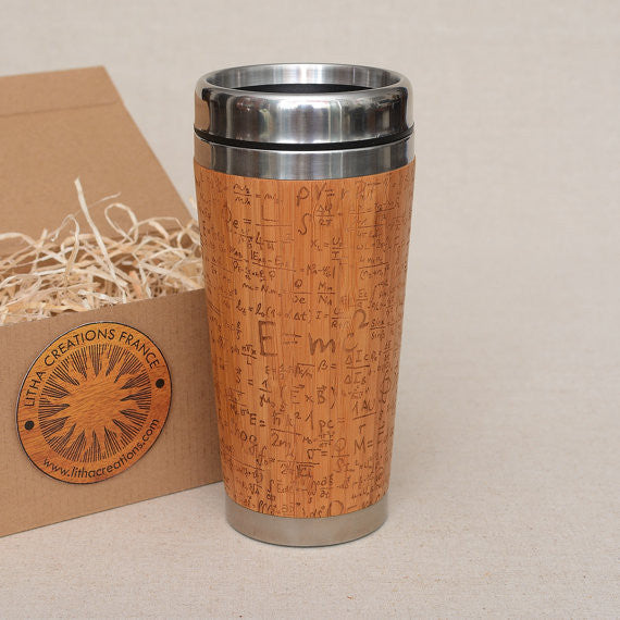Personalized Engraved Natural Bamboo Tumbler Travel Mug ''Emc2""