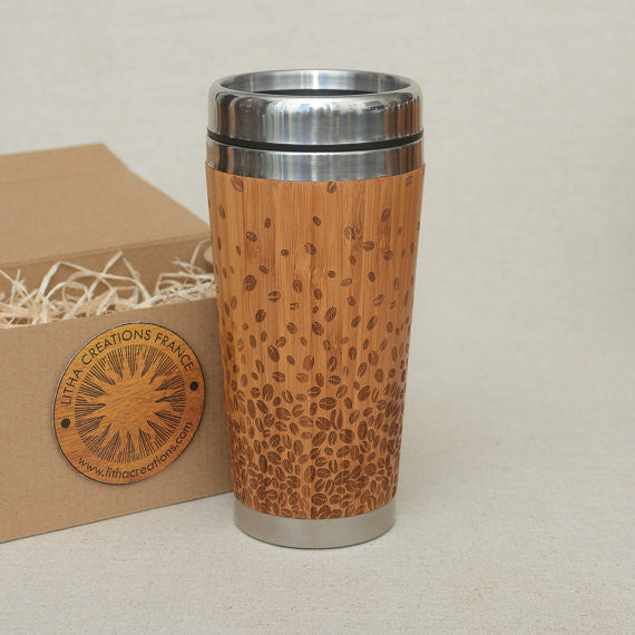 Personalized Engraved Natural Bamboo Tumbler Travel Mug ''Coffee Beans'""
