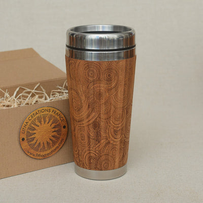 DESIRE Engraved Wood Travel Mug Tumbler - litha-creations-france