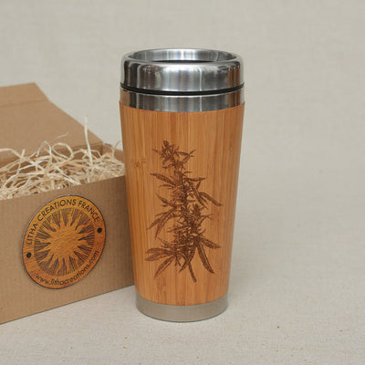 CANNABIS Engraved Wooden Travel Mug Tumbler - litha-creations-france