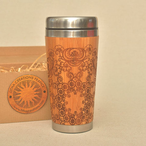 FLORAL MANDALA Engraved Wood Travel Mug Tumbler