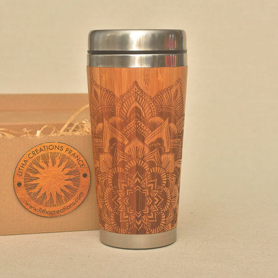 STAR MANDALA Engraved Wood Travel Mug Tumbler