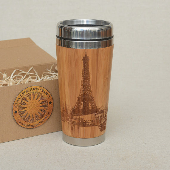 PARIS TOUR Engraved Wood Travel Mug Tumbler