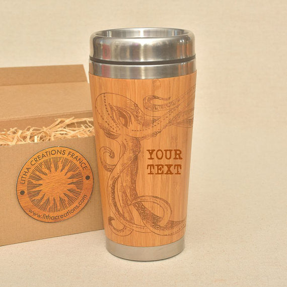 Personalized Engraved Natural Bamboo Tumbler Travel Mug ''PULP""