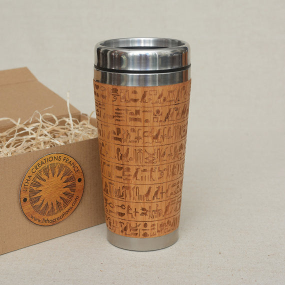HIEROGLYPHS Engraved Wood Travel Mug Tumbler