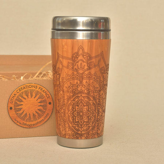 PETAL MANDALA Engraved Wood Travel Mug Tumbler