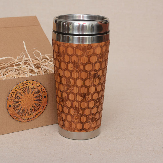 Personalized Engraved Natural Bamboo Tumbler Travel Mug ''My Honey''