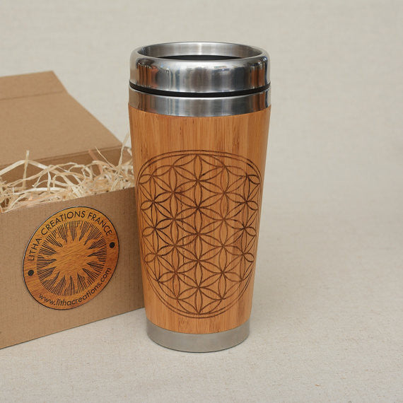 Personalized Engraved Natural Bamboo Tumbler Travel Mug ''FLOWER OF LIFE""