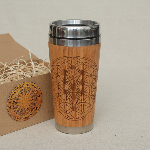 TREE OF LIFE Engraved Wood Travel Mug Tumbler